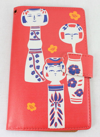 Wallet Mobile Phone Case Cover - Kokeshi Dolls