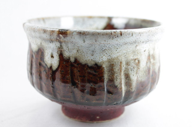White glazed Brown Matcha bowl - Shigaraki-ware