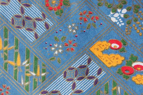 Hand-Dyed Yuzen Washi Paper - 025 Blue