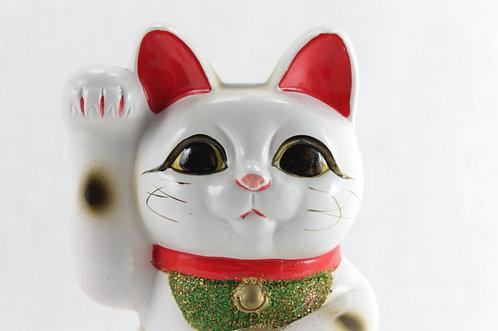 """Lucky Cat """"Maneki-neko"""" Right Paw White Small - Tokoname-ware"""