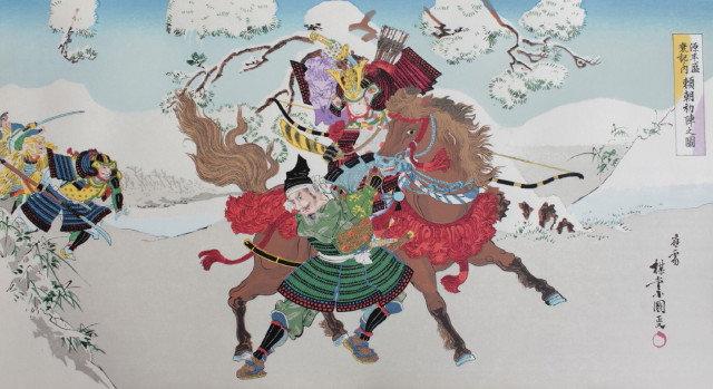 Yoritomo Minamoto Fighting Enemies Bravely