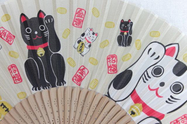 Silk Lucky Cats Hand Fan with Case -Handheld Folding Fan