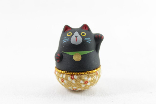 Japanese Roly-poly Doll Lucky Cat, Left Paw, Black