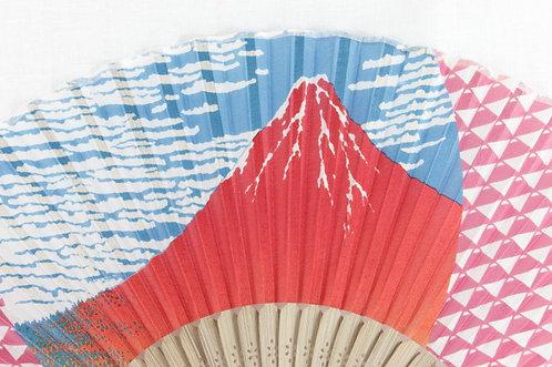 Silk Fine Wind, Clear Morning, Hokusai Hand Fan with Case -Handheld Folding Fan
