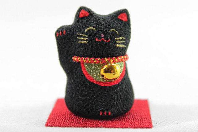Paper-mache Hand-made Lucky Cat, Right Paw, Black