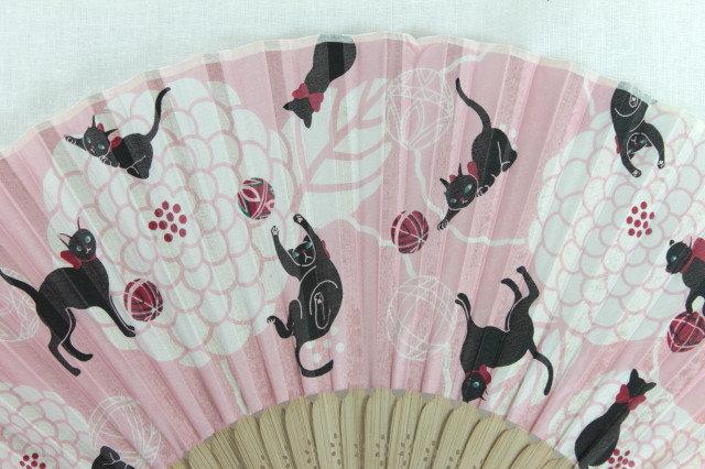 Silk Black Cats Hand Fan with Case -Handheld Folding Fan