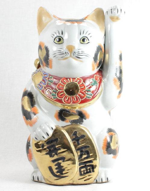 """Lucky Cat """"Maneki-neko"""" Left Paw White & Gold - Kutani-ware"""