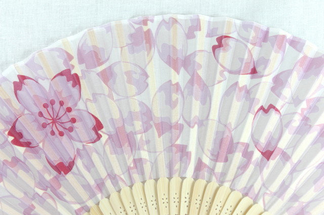 Silk Cherry Blossom Hand Fan with Case -Handheld Folding Fan