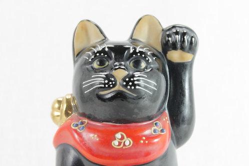 """Lucky Cat """"Maneki-neko"""" Left Paw Black - Kutani-ware"""