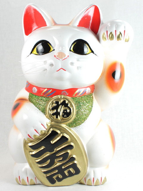 "Lucky Cat ""Maneki-neko"" Left Paw White - Tokoname-ware"