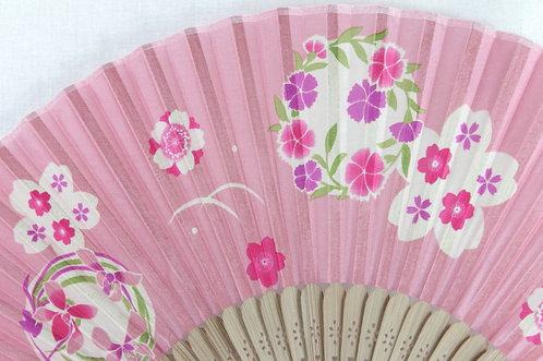 Silk Pink Flower Pattern Hand Fan with Case -Handheld Folding Fan