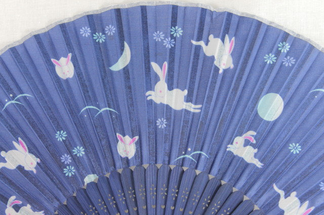 Silk Blue Rabbits Hand Fan with Case -Handheld Folding Fan