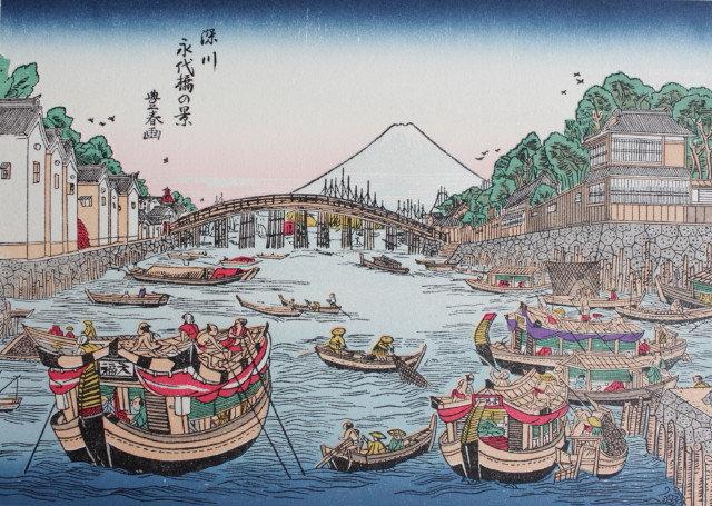 A View of Enjoying the Cool near Eitai Bridge, Fukagawa