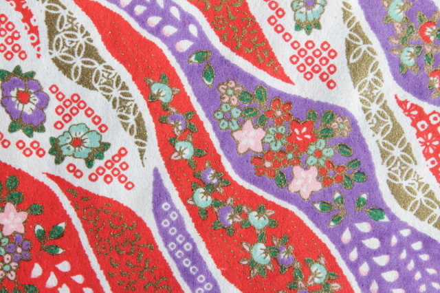 Hand-Dyed Yuzen Washi Paper - 031 Red & Purple
