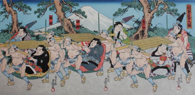 Sumo-Wrestler parading on Tokaido