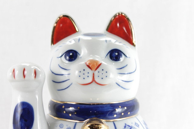 Lucky Cat  Right Paw with Lucky Symbols, White - Seto-ware