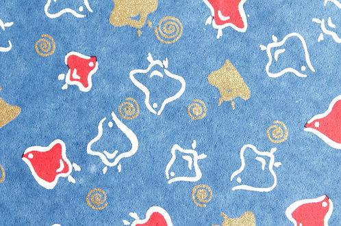 Hand-Dyed Yuzen Washi Paper - 008 Blue