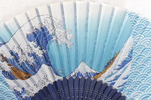 Silk Under the Wave off Kanagawa, Hokusai Hand Fan with Case -Handheld Folding F