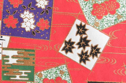 Hand-Dyed Yuzen Washi Paper - 020 Red