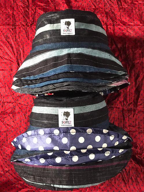(Ade)Doyin - Aso-Oke Satin Lined Bucket Hat (Blue Stripes)