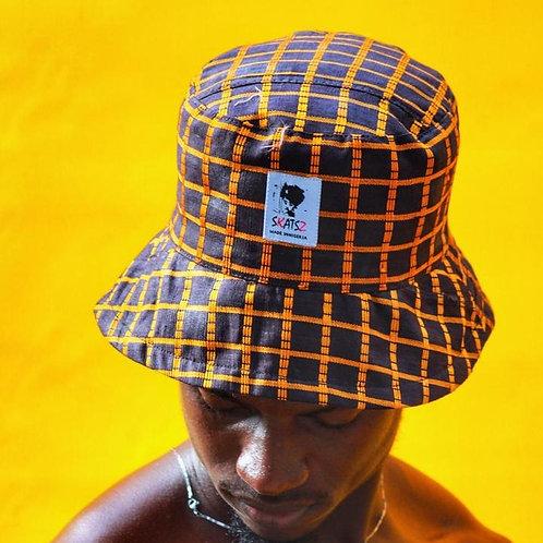 (Ade)Doyin Orange Checkered Bucket Hat