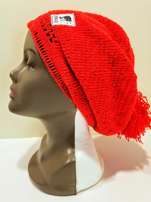 Oluwakemi - Red Unisex Knitted Satin Lined Slouch Beanie