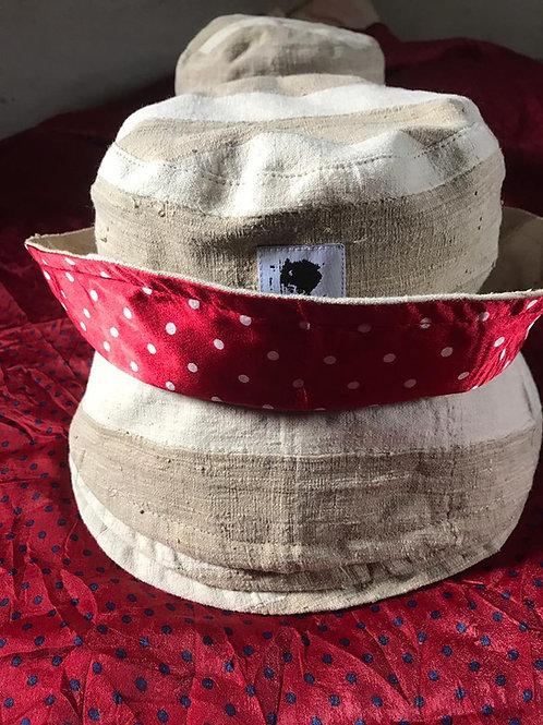 (Ade)Doyin - Aso-Oke Satin Lined Bucket Hat (Tan)