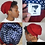 Thumbnail: OG Red Unisex Knitted Satin Lined Slouch Beanie Red/Blue