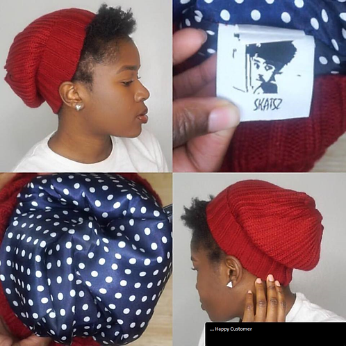 OG Red Unisex Knitted Satin Lined Slouch Beanie Red/Blue