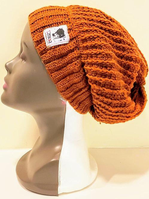 OG Toyin -Brown/Black Unisex Knitted Satin Lined Slouch Beanie