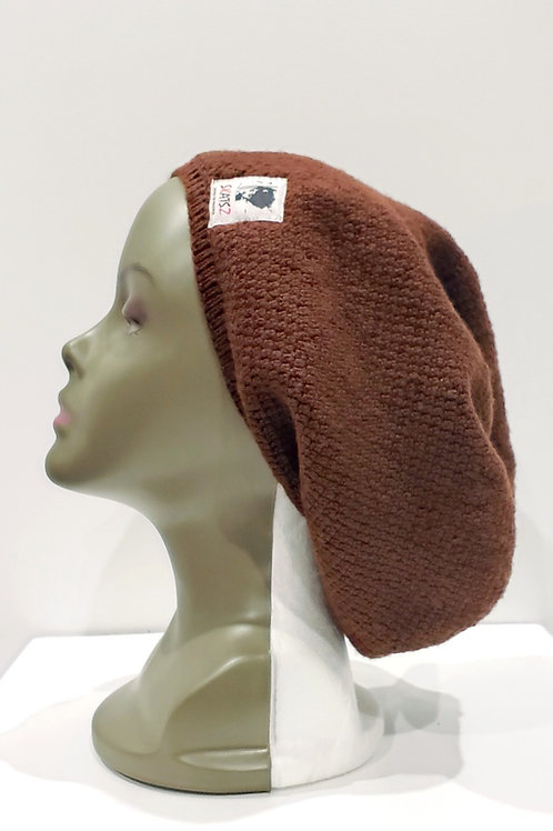 Nkem - Brown Unisex Knitted Satin Lined Slouch