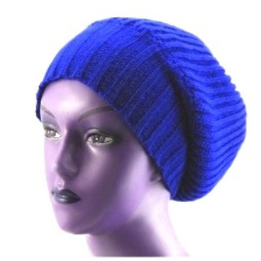 OG - Navy/Pink Unisex Knitted Satin Lined Slouch Beanie