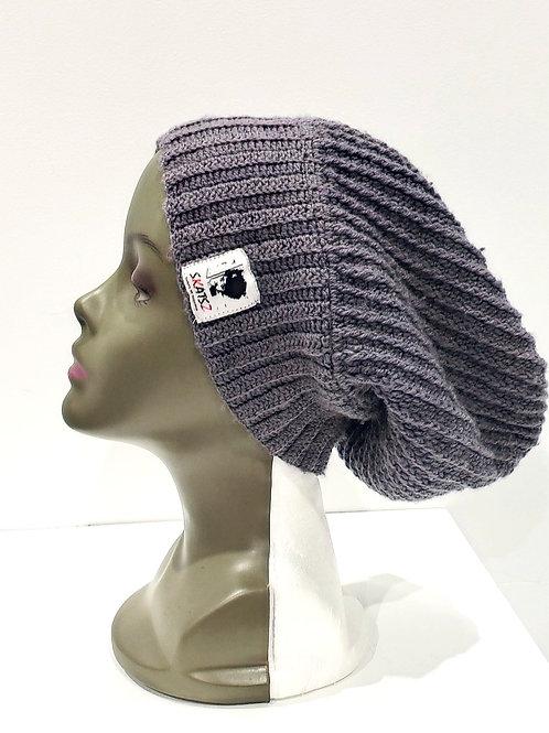 OG Toyin - Grey/Black Unisex Knitted Satin Lined Slouch Beanie