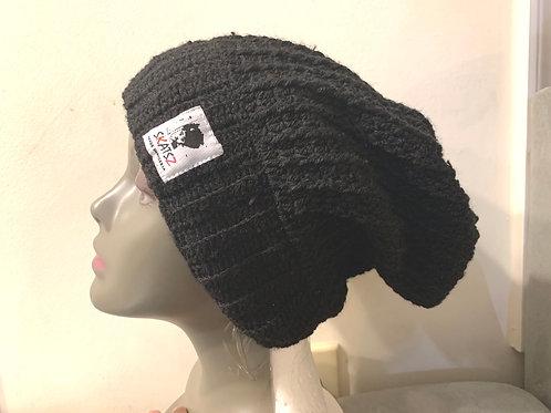 OG Toyin - Black Unisex Knitted Satin Lined Slouch Beanie