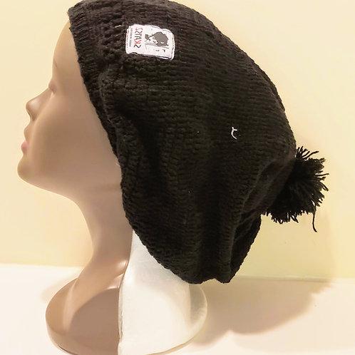 Oluwakemi - Black Unisex Knitted Satin Lined Slouch Beanie