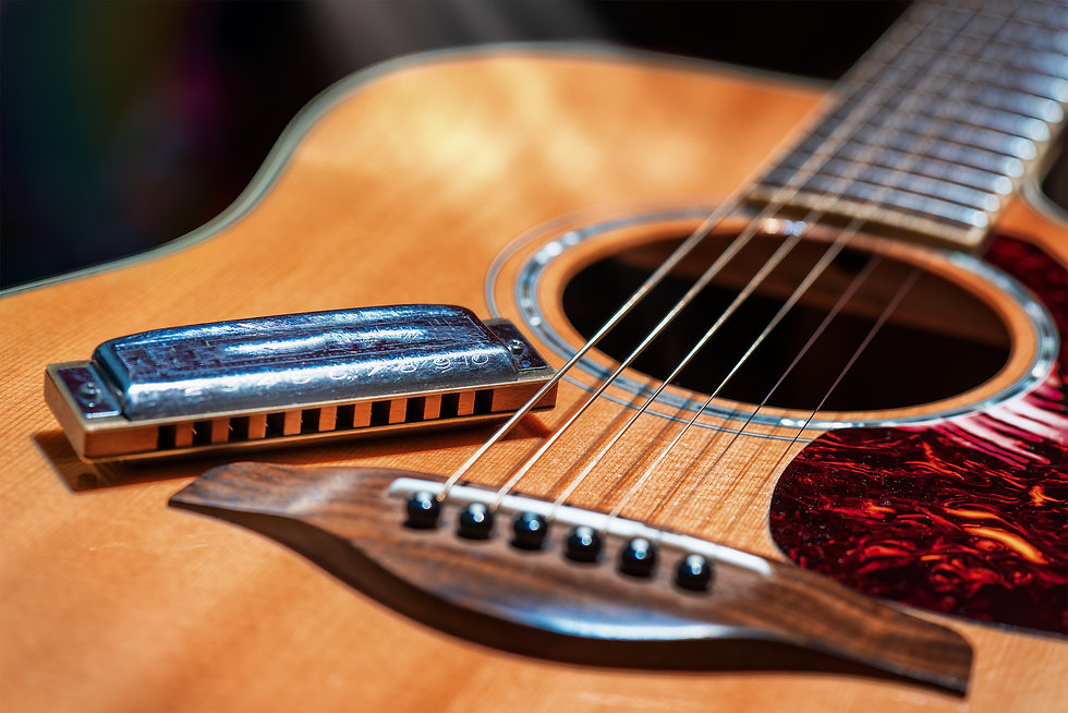 Acoustic guitar with country blues harmo