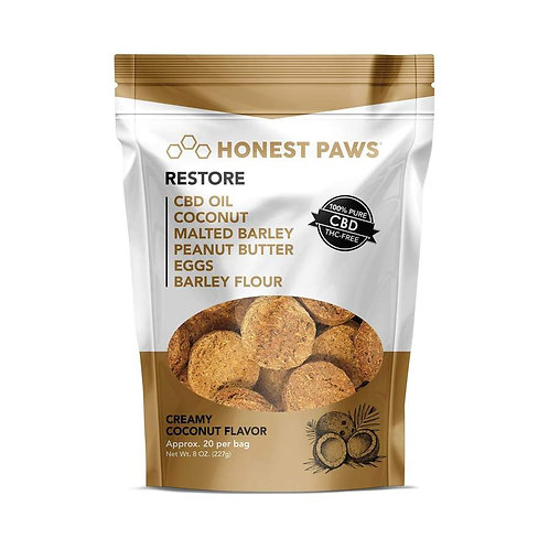 Honest Paws - Restore - Creamy Coconut Flavored CBD Dog Treats