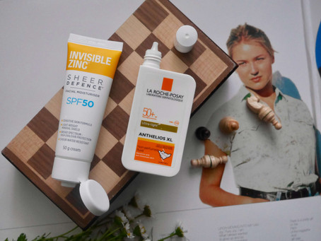 Two Drugstore Sunscreens: La Roche Posay Anthelios XL Ultra Light Fluid SPF 50+ & Invisible Zin
