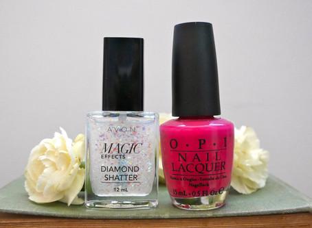 Nails of the Day: Avon's Magic Effects Diamond Shatter & OPI's Koala Bear-y