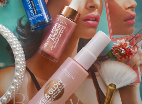 Reviewing some L'Oreal Goodies; Infaillible Magic Essence Drops, Glow Mon Amour Highlighting D