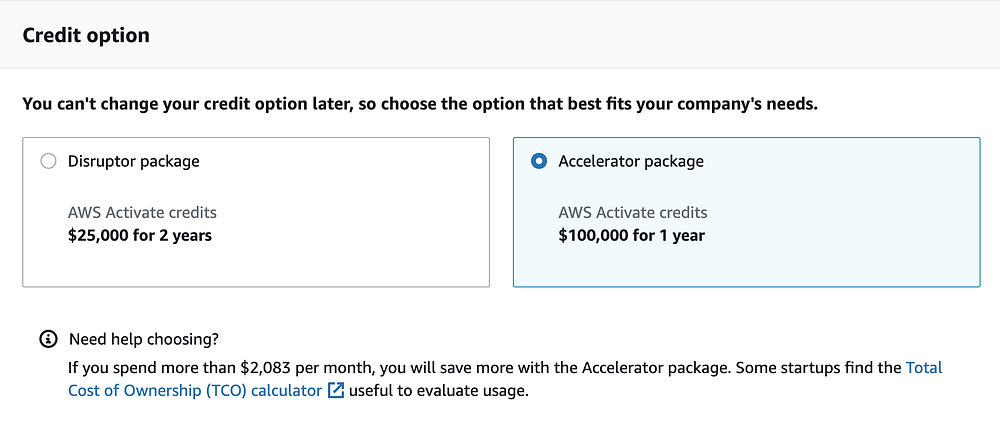 AWS Activate credit option