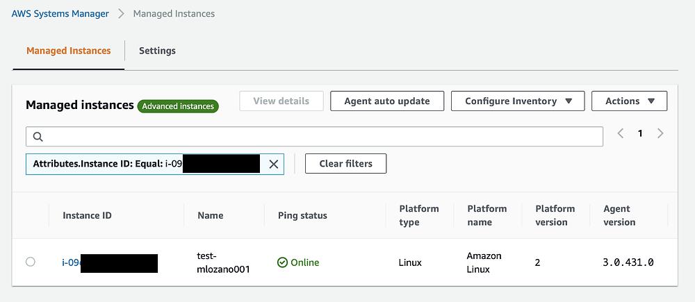 AWS Managed EC2 instances on AWS SSM