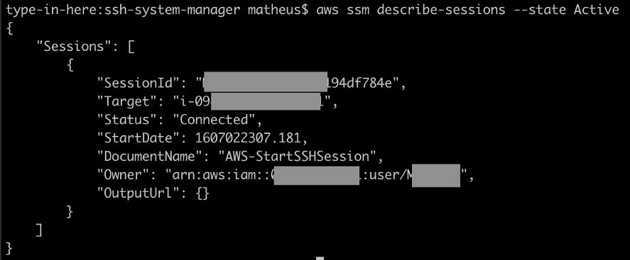 Active SSH sessions via AWS cli