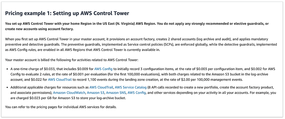 AWS Control Tower pricing