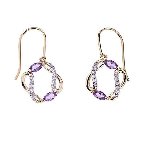 Amethyst Daimond Earrings