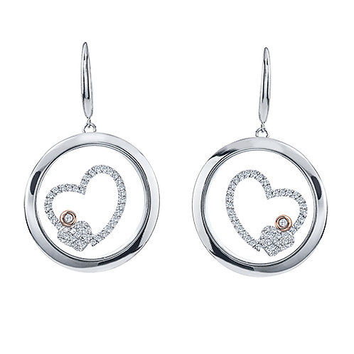 Floating Diamond Heart Earring