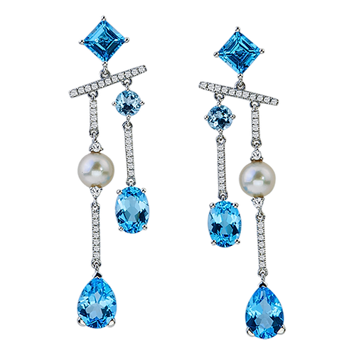 Topaz Diamond/Pearl Earrings