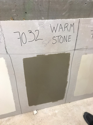 Paint mock ups underway.  Warm Stone is the winner!