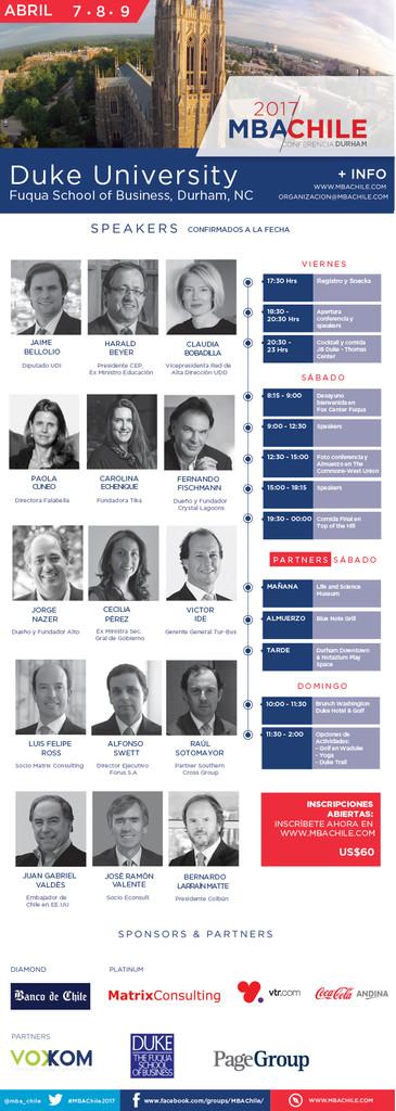 Nuevos Speakers Confirmados Bernardo Larraín, Paola Cúneo, Jorge Errázuriz entre otros.