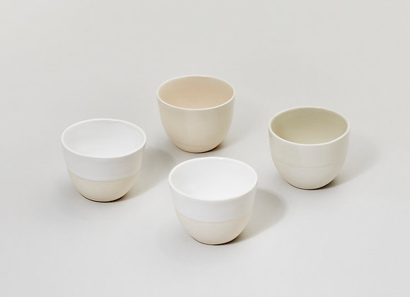 subtle espresso cups set, set of 4 cups in beige colors, ceramic set, ceramic cups, espresso set